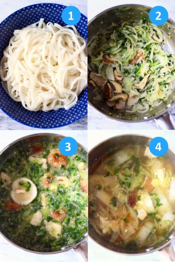 Collage of four process shots showing you how to make Vegan Pho