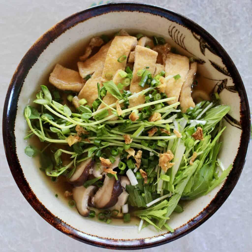 Kitsune Soba Tofu Buckwheat Noodle Soup (Vegan + GF)