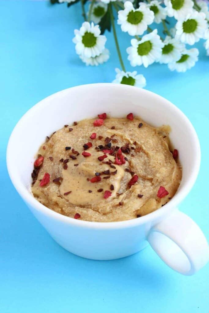 Vegan Peanut Butter Microwave Mug Cake 3-Ingredients
