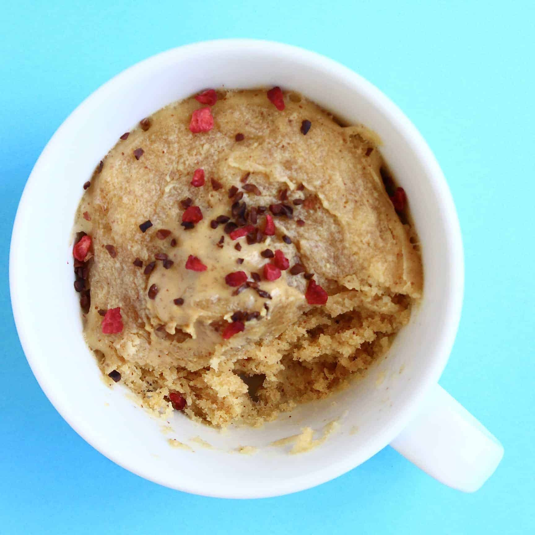 Vegan Peanut Butter Microwave Mug Cake 3-Ingredients