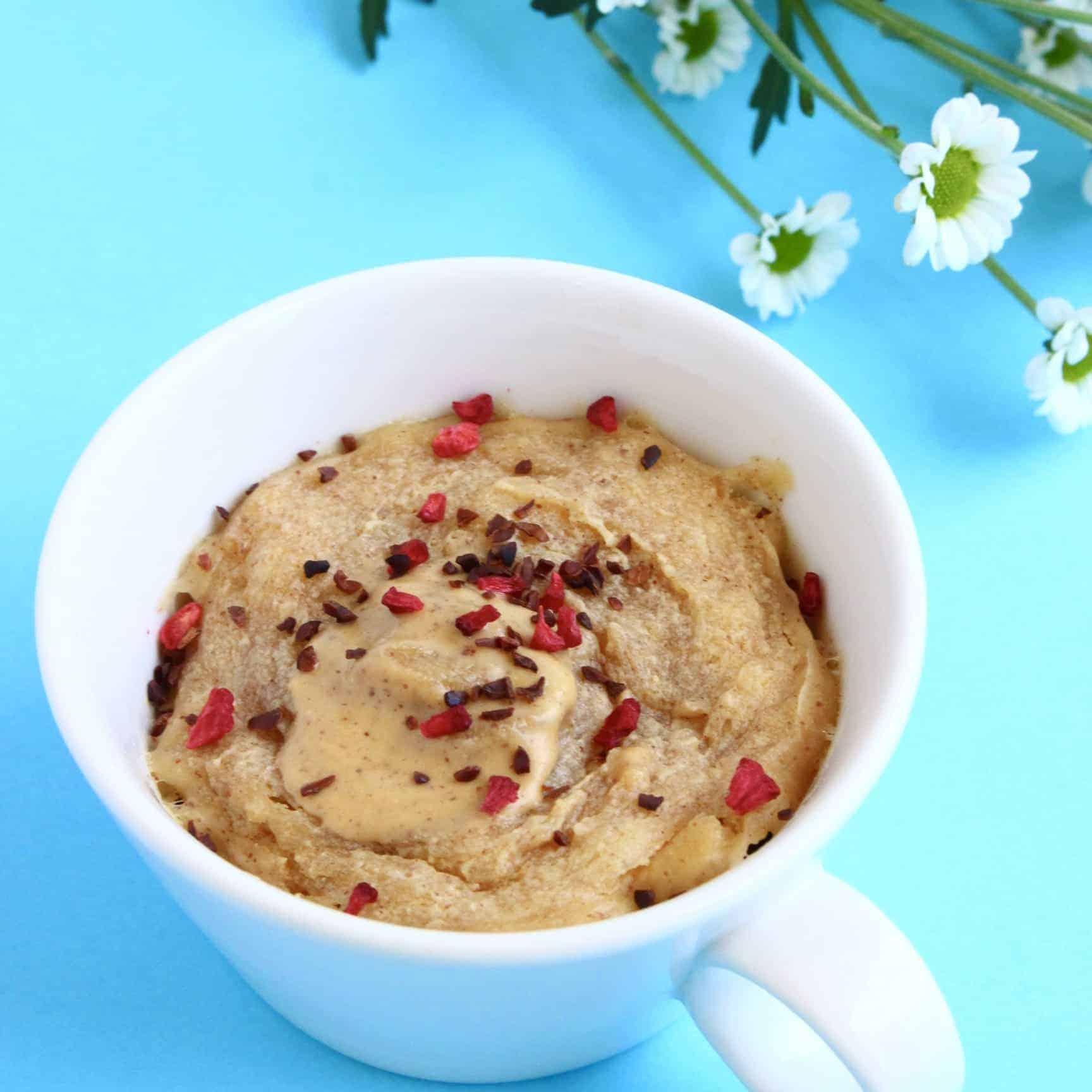 Vegan Peanut Butter Microwave Mug Cake 3 Ingredients Rhian S Recipes
