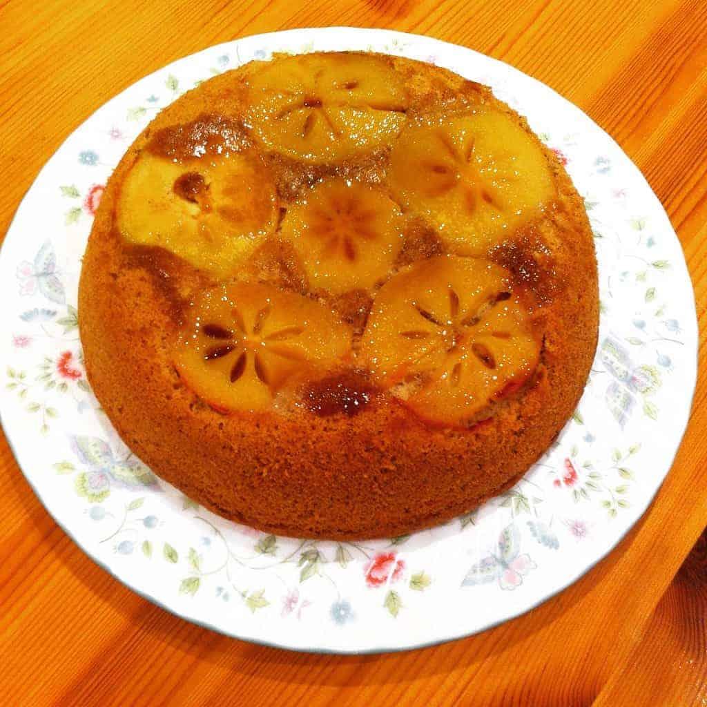 Persimmon Upside Down Cake with Yuzu Caramel Glaze (Dairy-Free)