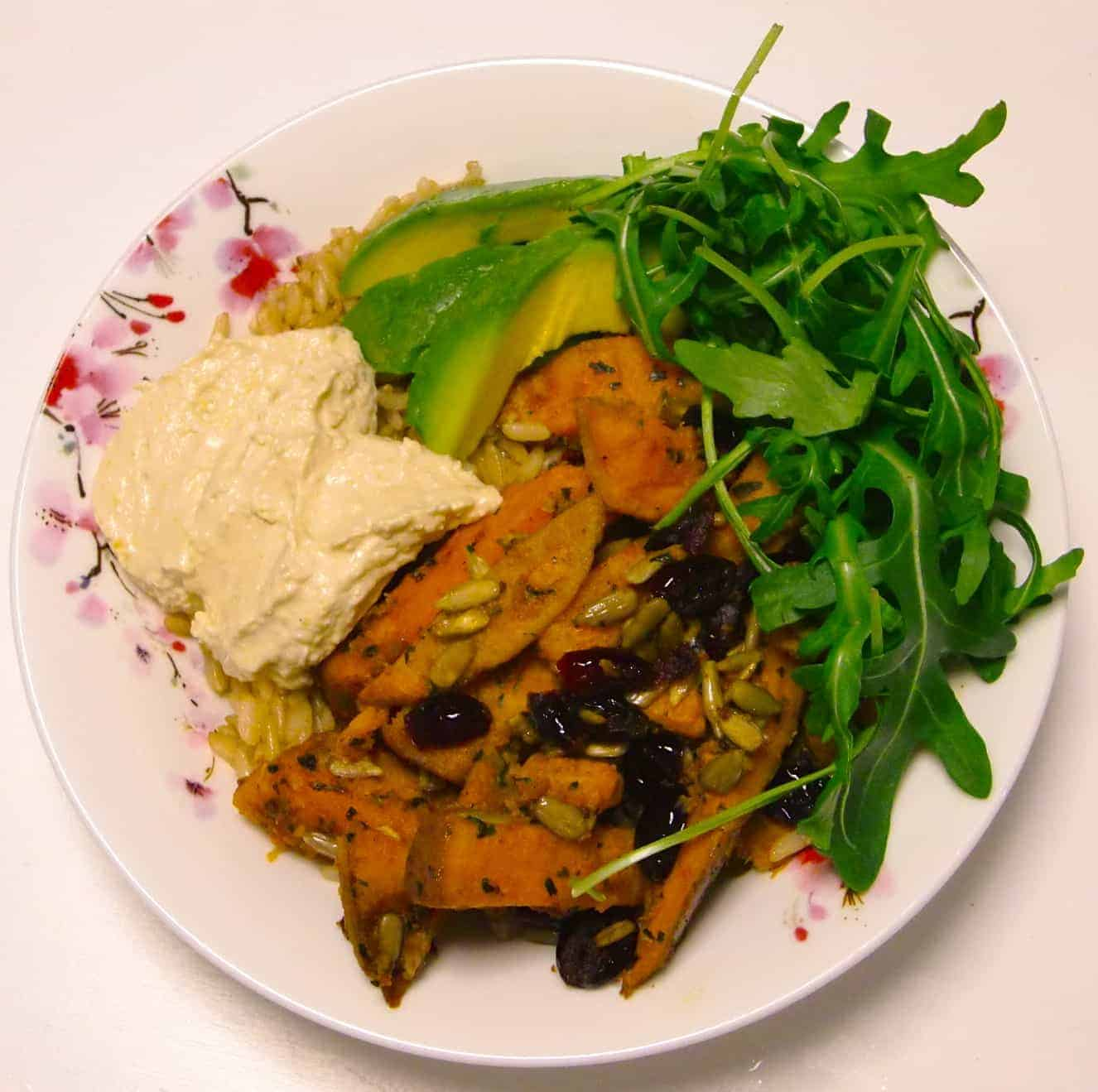 Spiced Sweet Potato & Hummus Buddha Bowl
