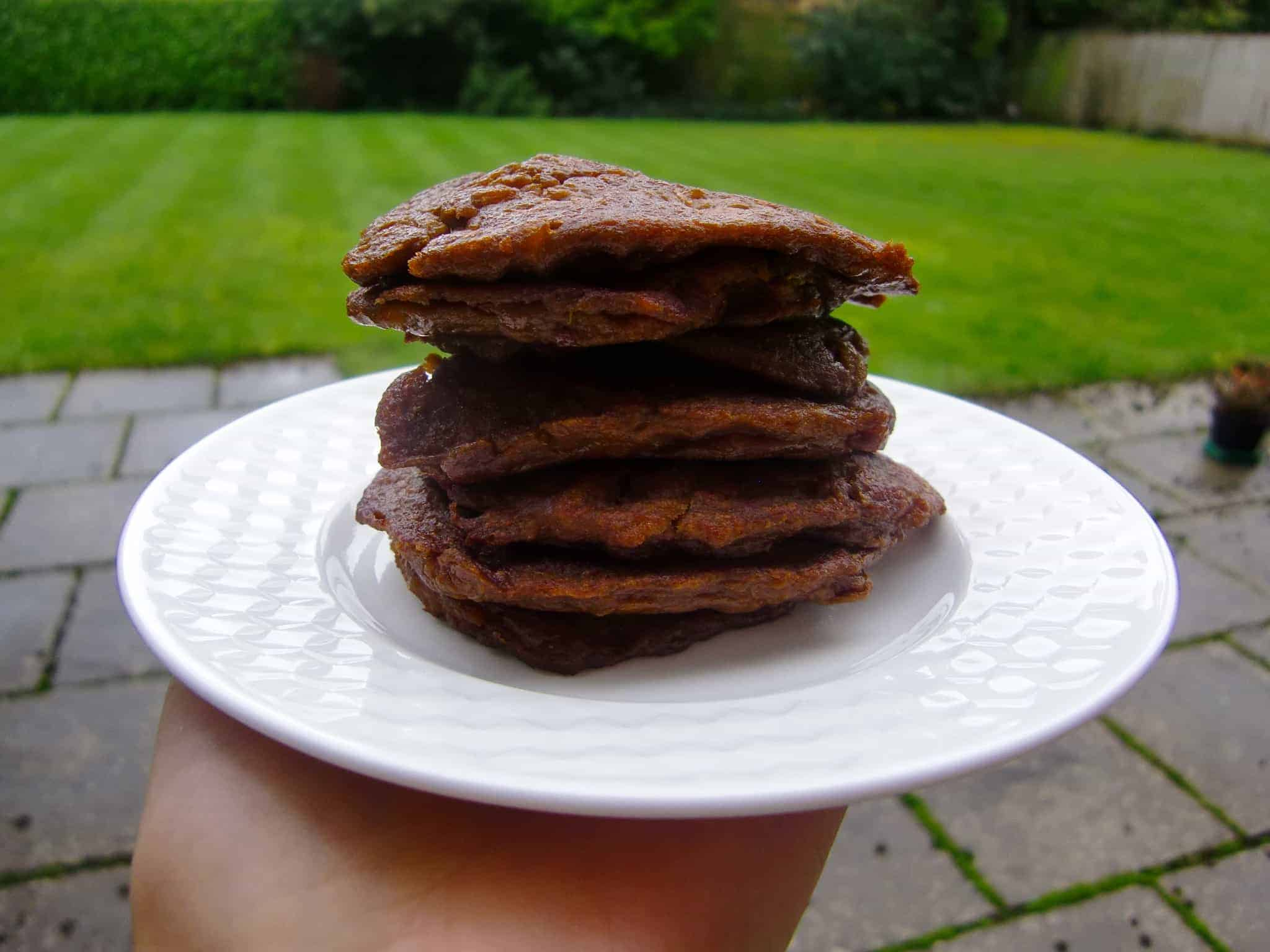 3-Ingredient Sweet Potato Chocolate Pancakes (Dairy-Free + GF)