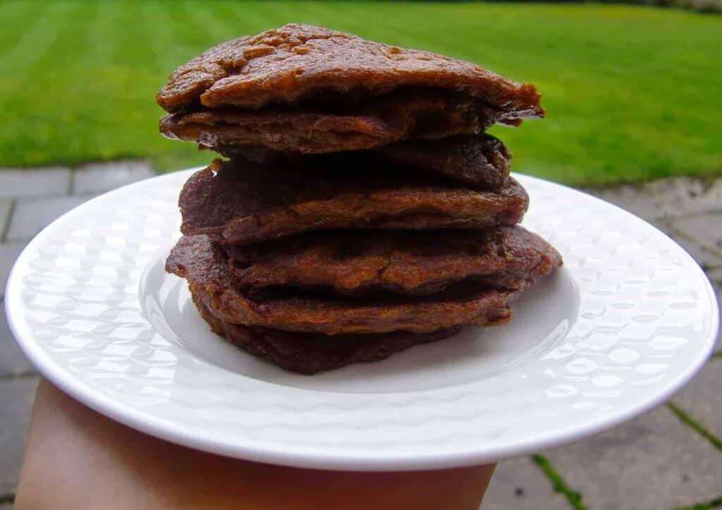 3-Ingredient Sweet Potato Chocolate Pancakes (Dairy-Free + GF)