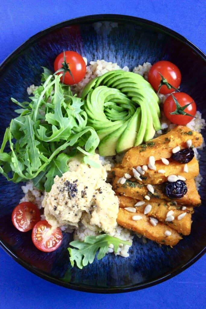 Spiced Sweet Potato & Hummus Buddha Bowl (Vegan + GF)