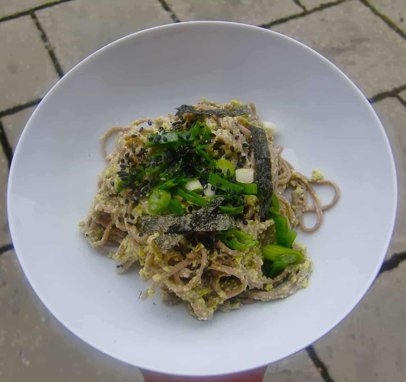 Vegan Edamame Pesto with Soba Noodles (GF)