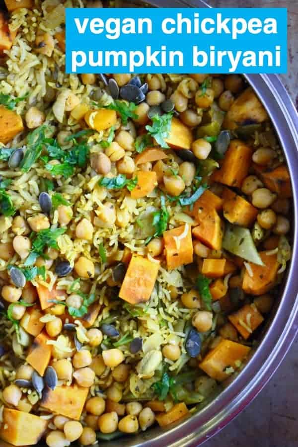 This Vega Chickpea Pumpkin Biryani is easy to make, super nutritious and full of flavour. Made with dried cranberries, flaked almonds and pumpkin seeds, it makes a great easy one-pot weeknight dinner. Dairy-free and gluten-free. #rhiansrecipes #vegan #vegetarian #biryani #glutenfree #dairyfree