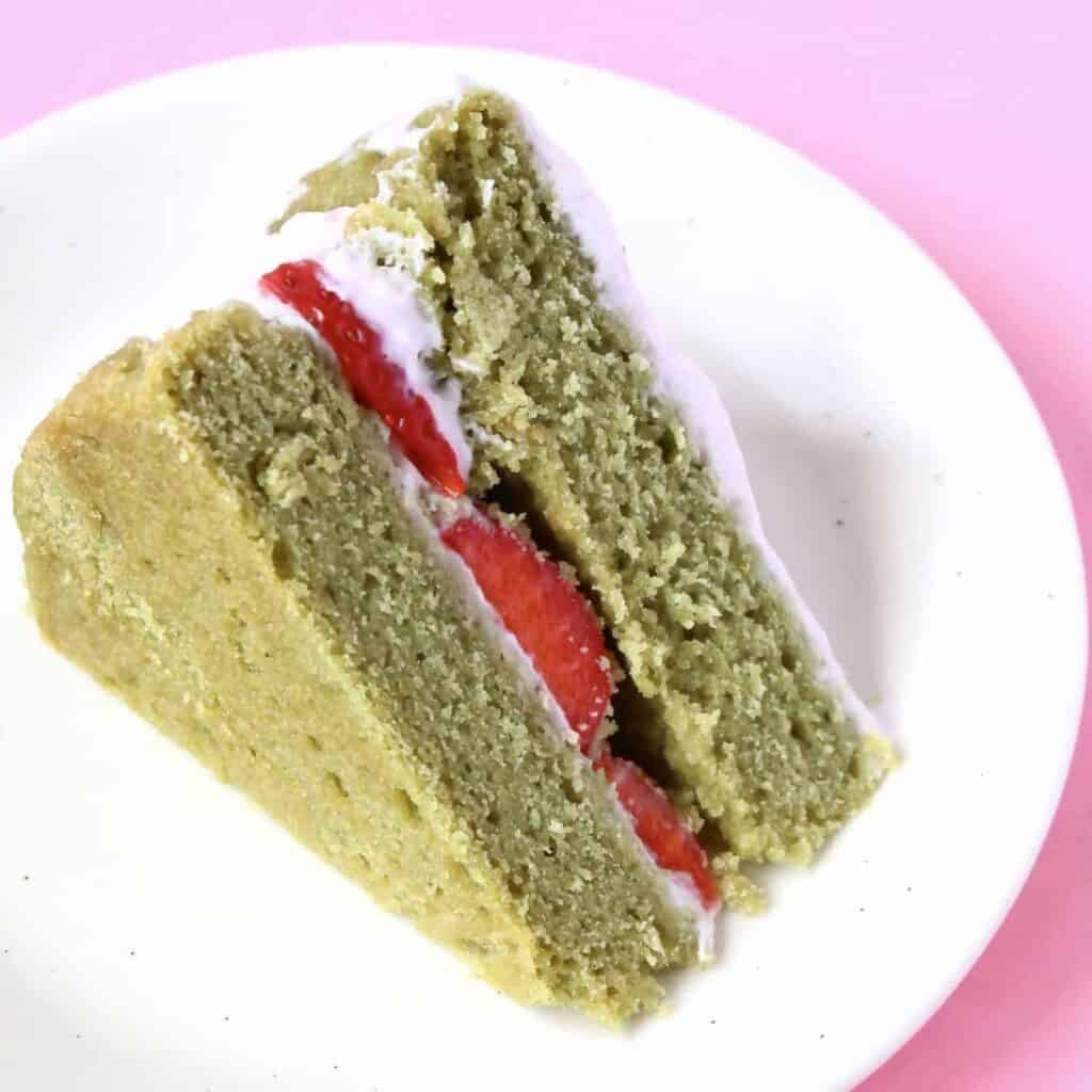Gluten-Free Vegan Matcha Strawberry Sponge Cake