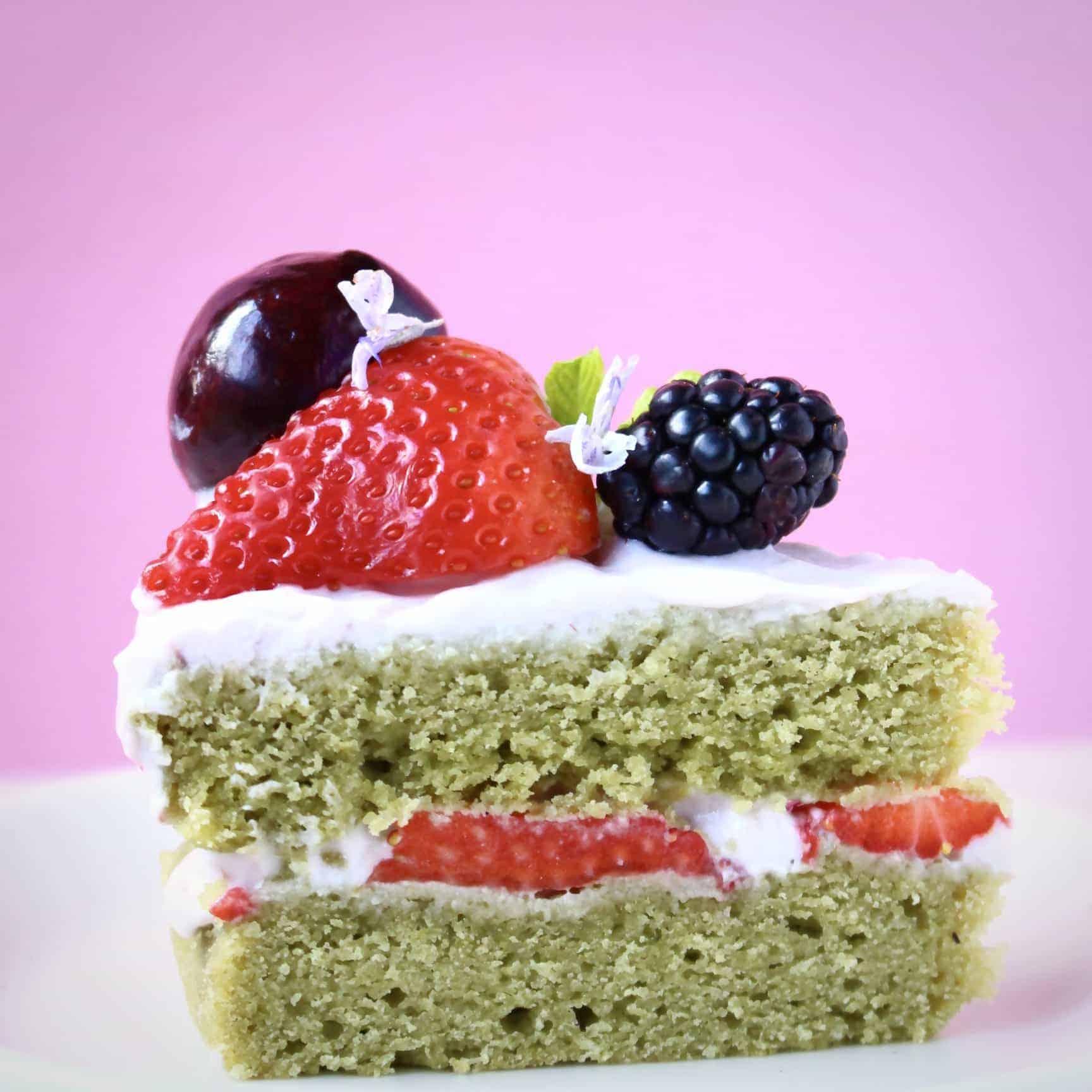 Gluten-Free Vegan Matcha Strawberry Sponge Cake