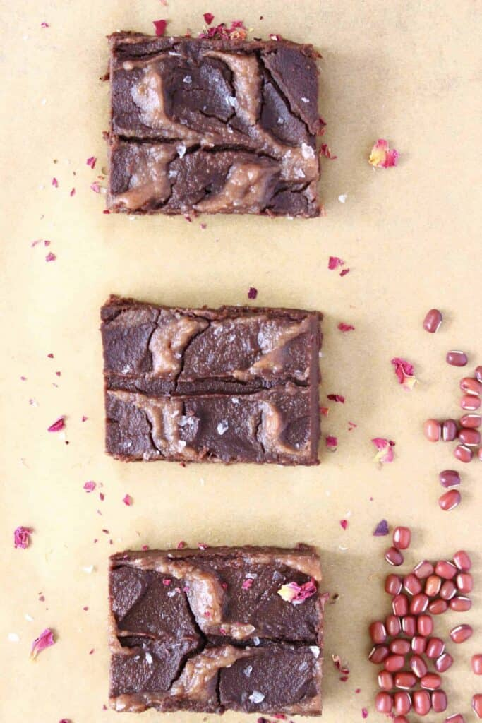 Salted Caramel Adzuki Bean Brownies (Vegan + GF)
