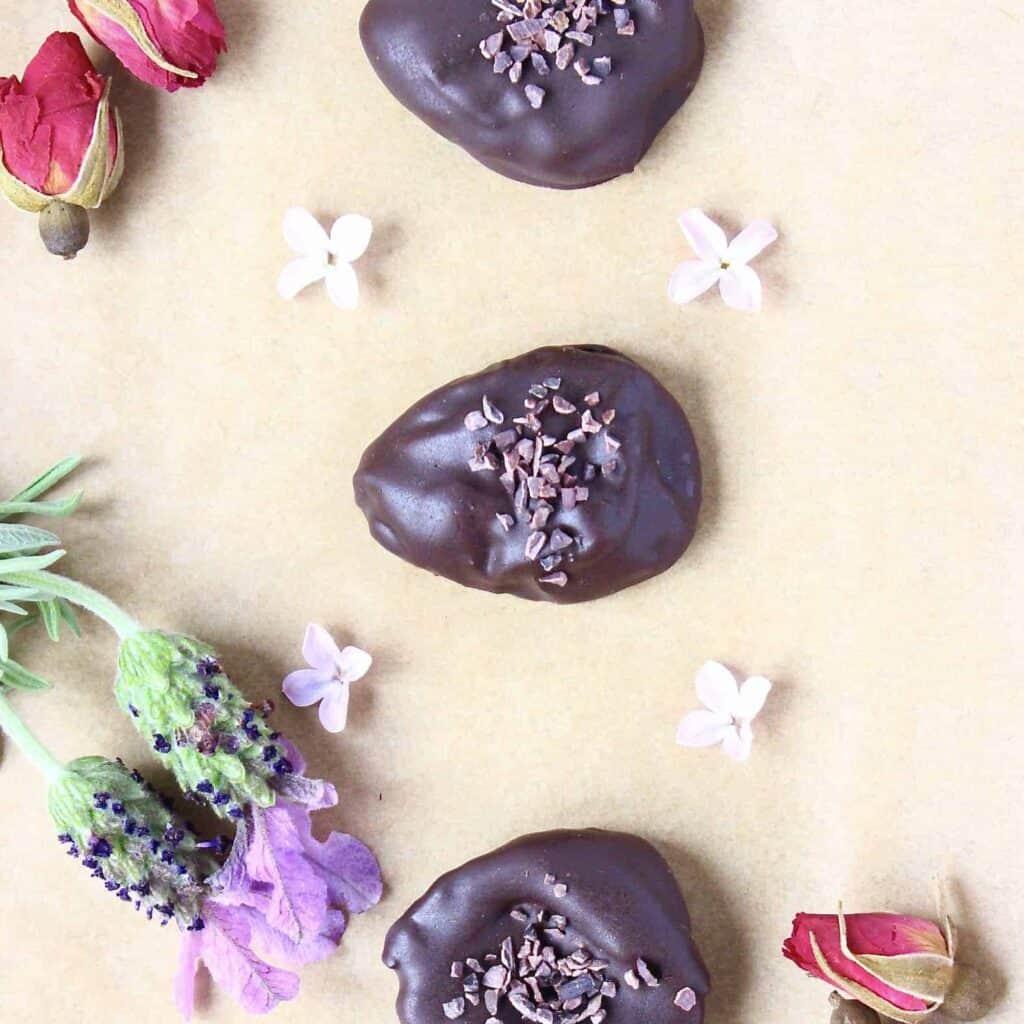 Dark Chocolate Amaretto Prunes (Vegan)