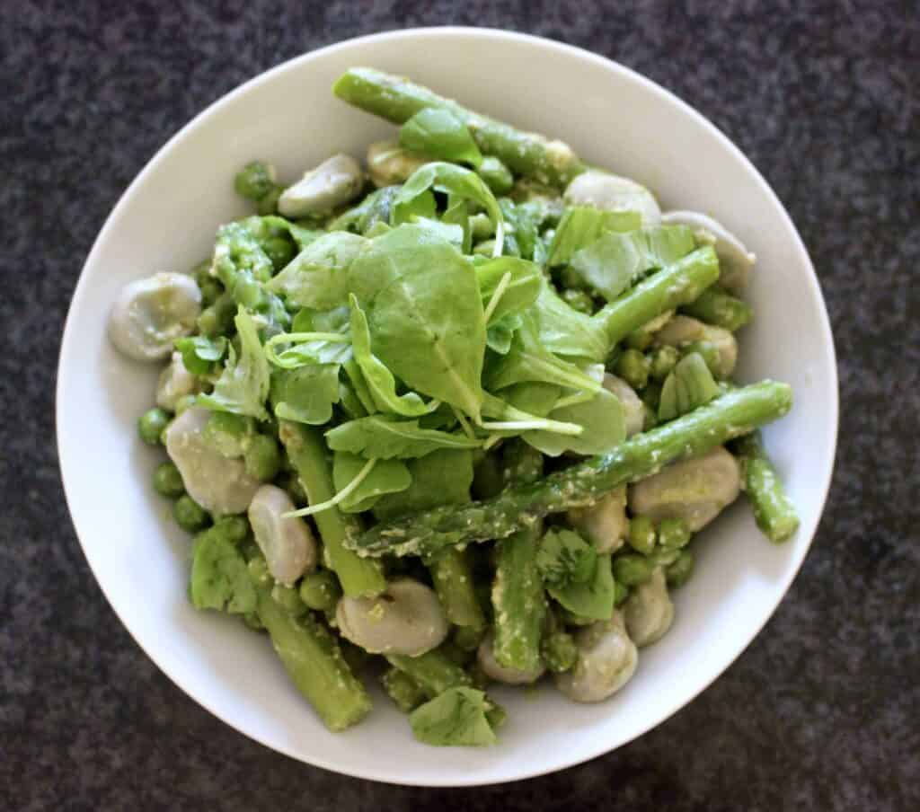 Pea, Broad Bean and Asparagus Pesto Salad