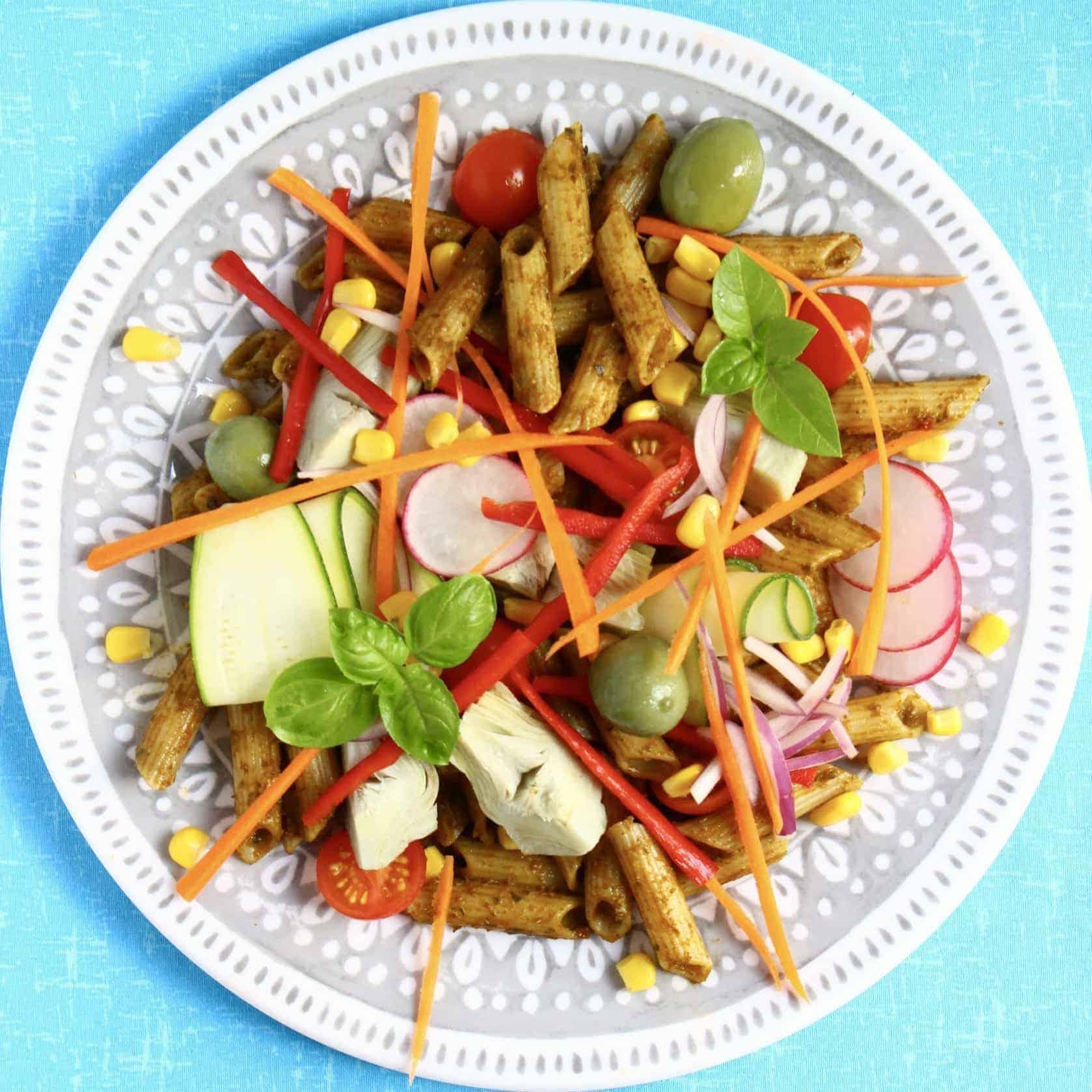 Vegan Sundried Tomato Pesto Pasta Salad (GF)