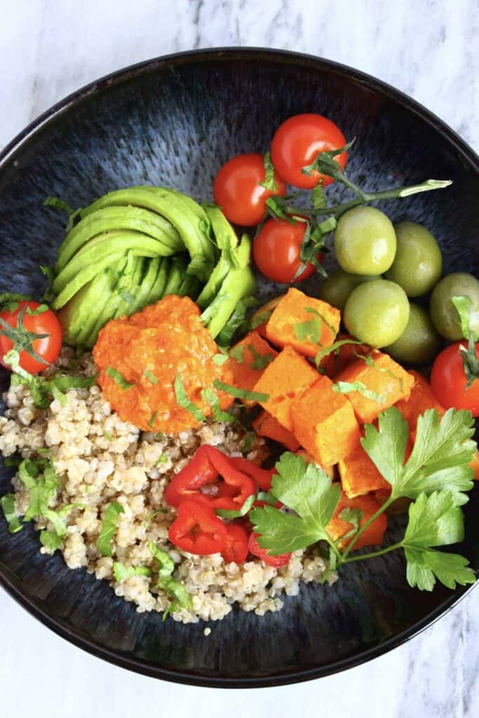 Butternut Squash Quinoa Bowl with Roasted Red Pepper Sauce (Vegan + GF)