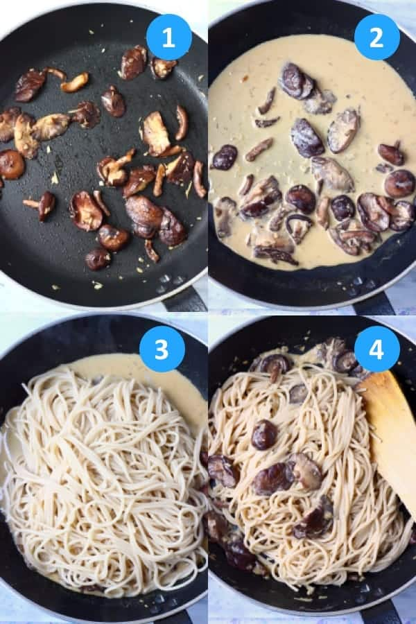 Collage of four process shots showing how to make spaghetti with mushrooms