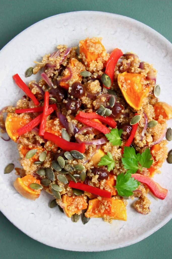 Photo of quinoa, roasted pumpkin and sliced red pepper salad on a grey plate against a dark green background