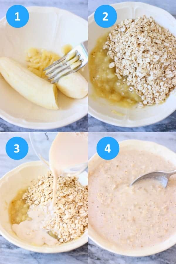 A collage of process shots showing how to make banana overnight oats