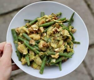 Miso French Beans Brussels Sprouts and Walnuts (Vegan + GF)