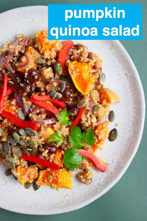 This Pumpkin Quinoa Salad is super easy to make, super healthy, full of flavour and packed with veggies. Sweet, tender roasted pumpkin, tart cranberries and nutty quinoa make it the best side dish for Thanksgiving or Christmas, or just a healthy lunch! Vegan, vegetarian, gluten-free and dairy-free. #rhiansrecipes #vegan #vegetarian #glutenfree #dairyfree #thanksgiving #quinoa #pumpkin #christmas
