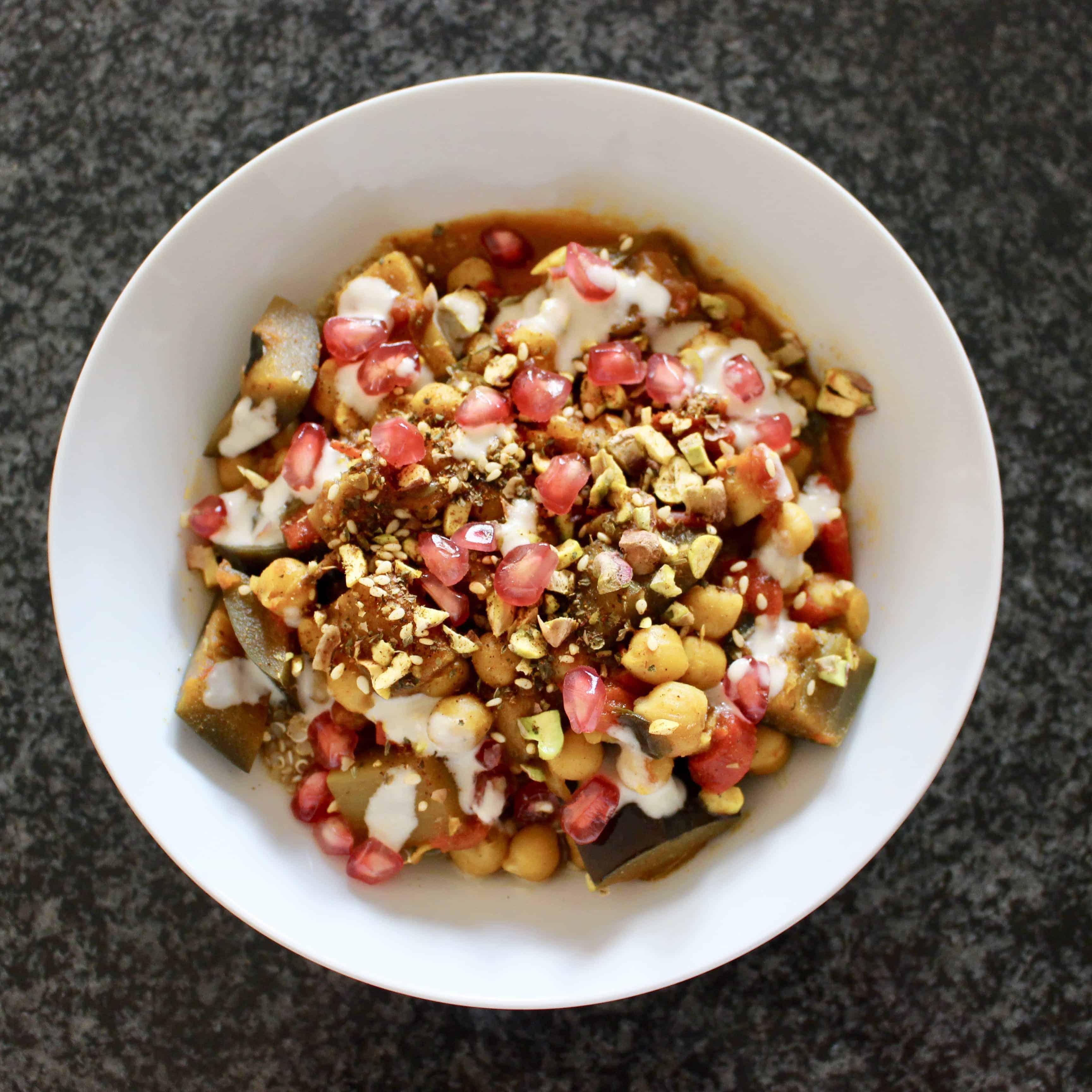 Chickpea Aubergine Tagine Quinoa Bowl (Vegan + GF)