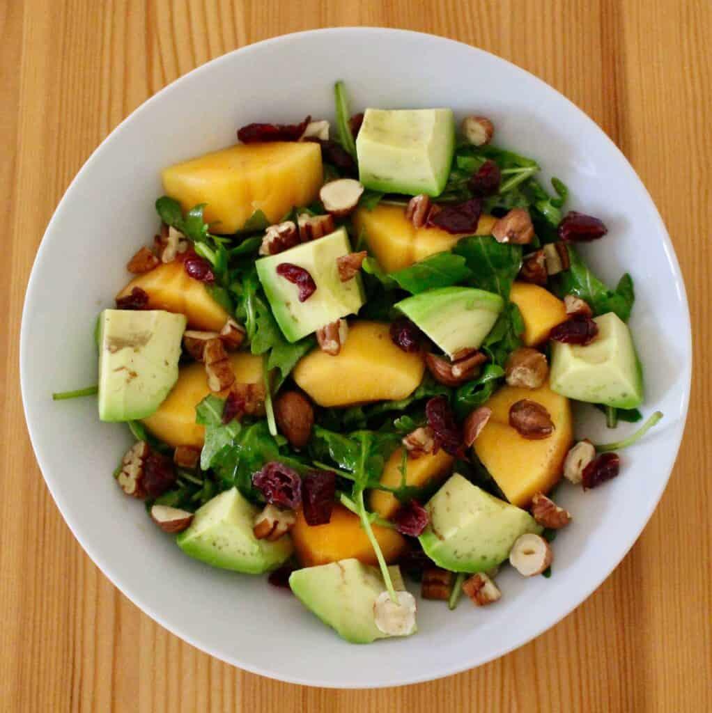 Persimmon Avocado Rocket Salad (Vegan + GF)