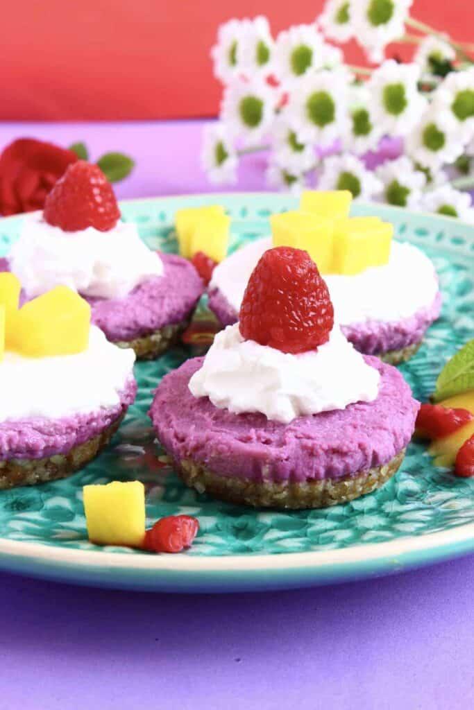 Purple Sweet Potato Cheesecakes (Vegan + GF)