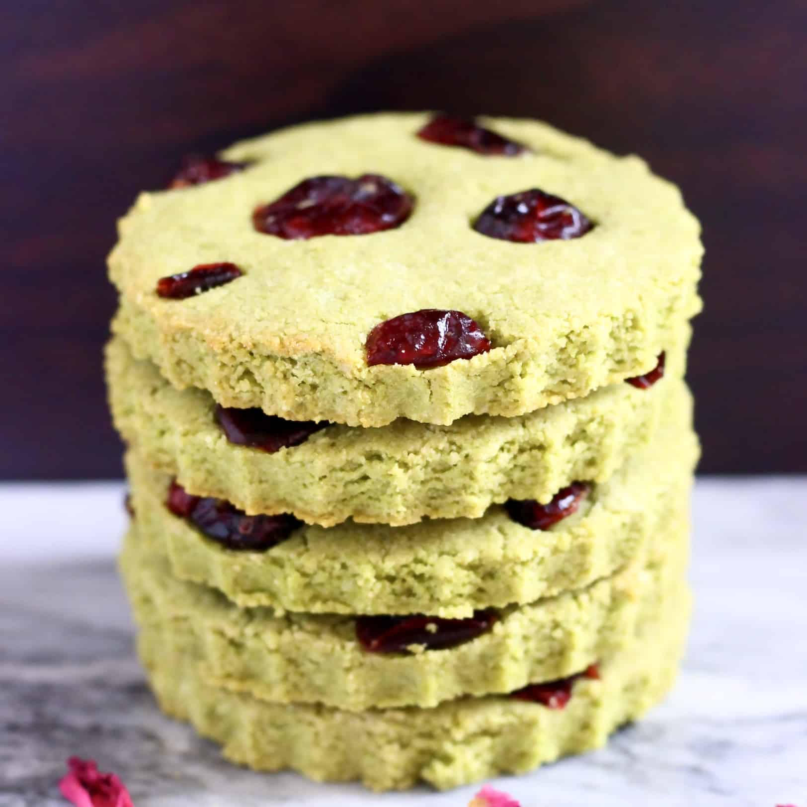 Stack of five matcha cookies