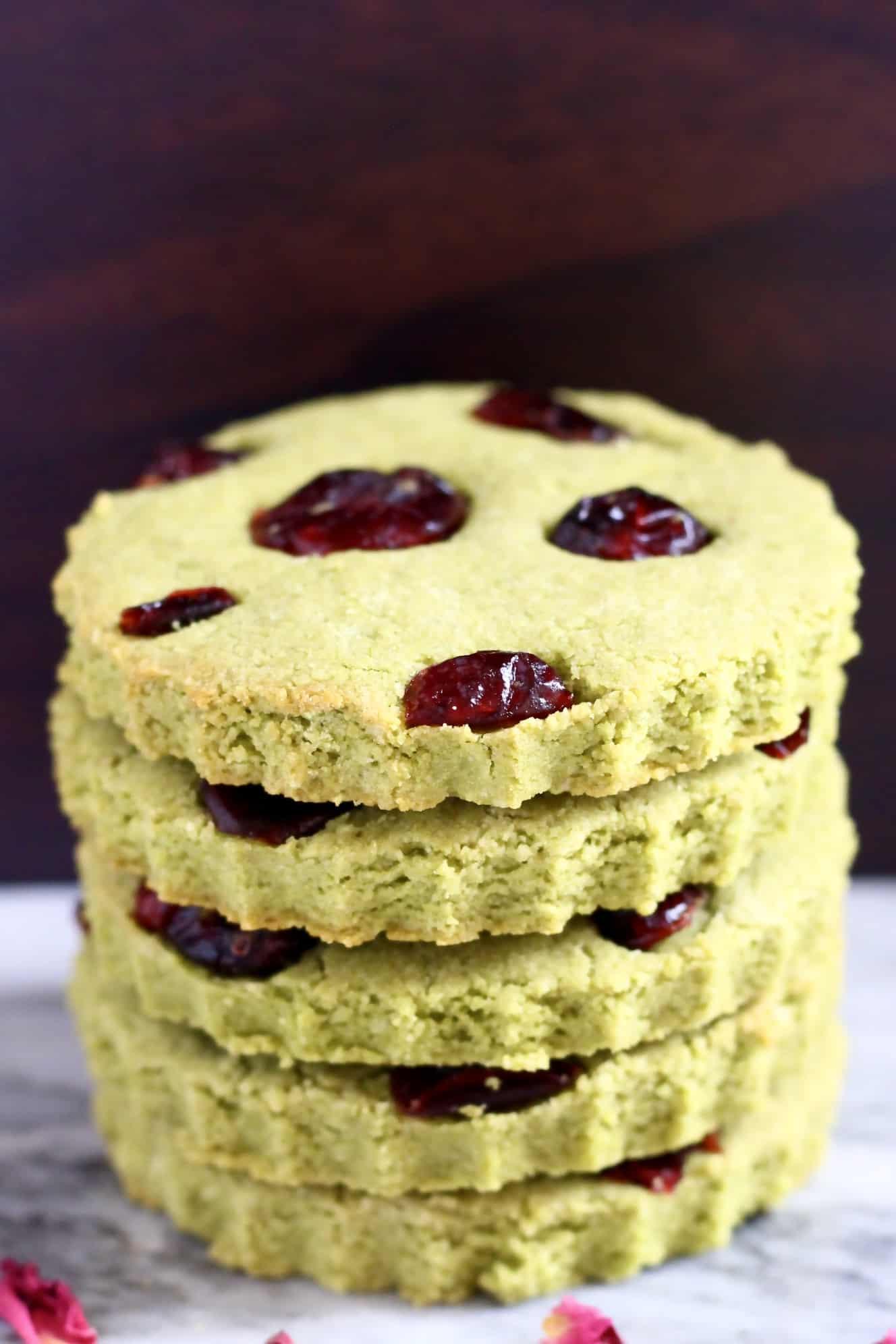 Stack of five vegan matcha shortbread cookies