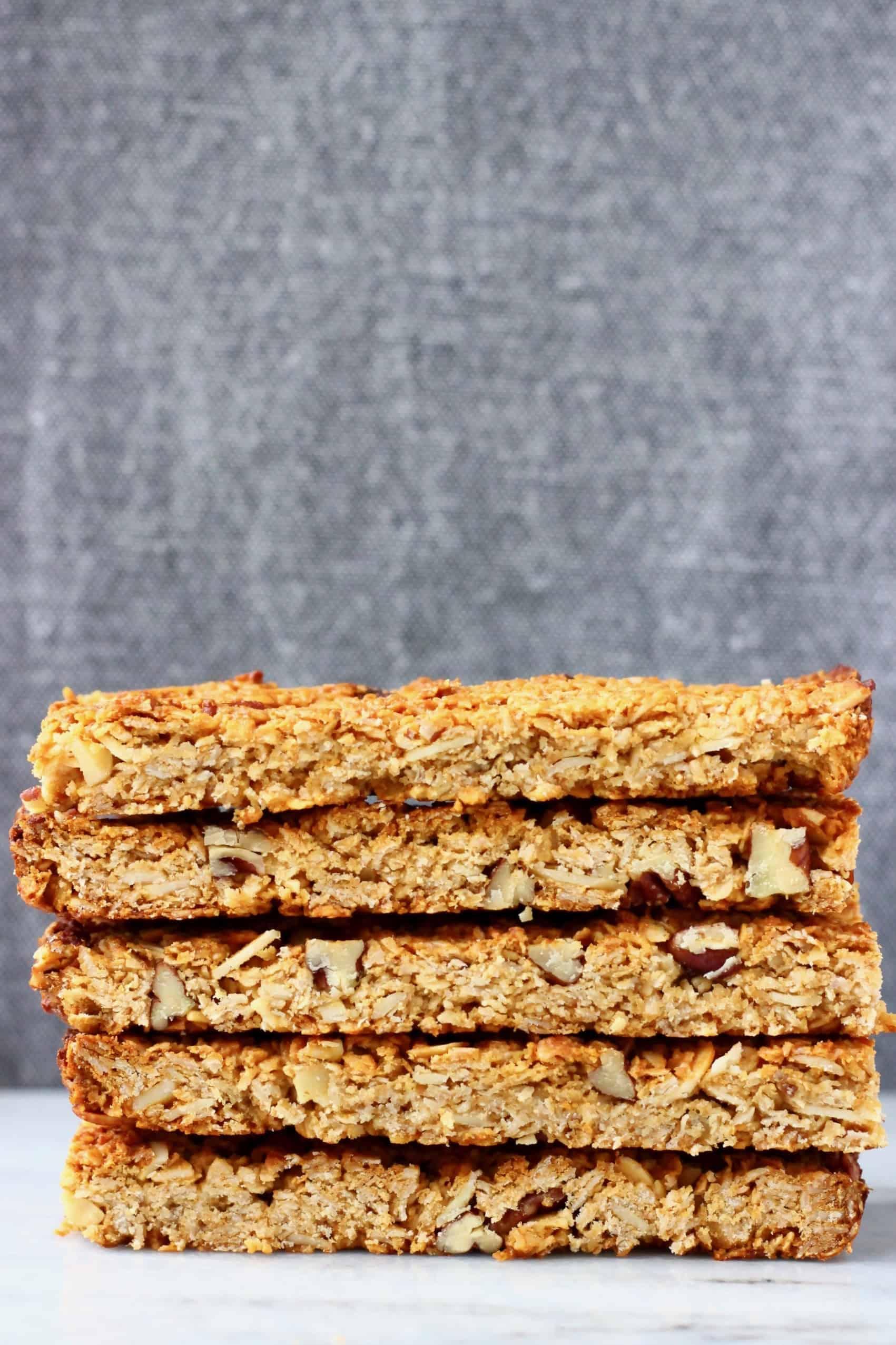 A stack of five vegan granola bars