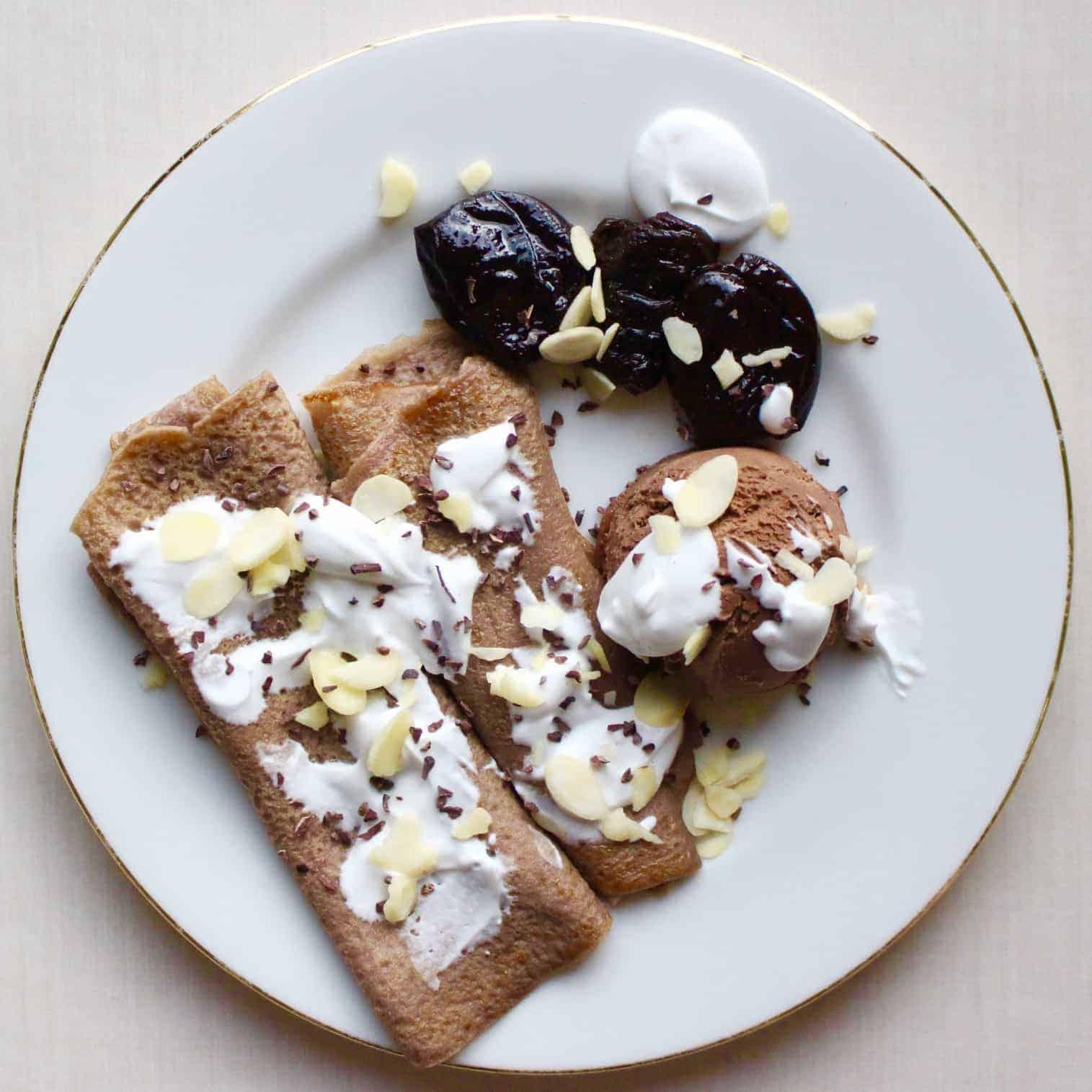 Amaretto Prune Chocolate Crepes