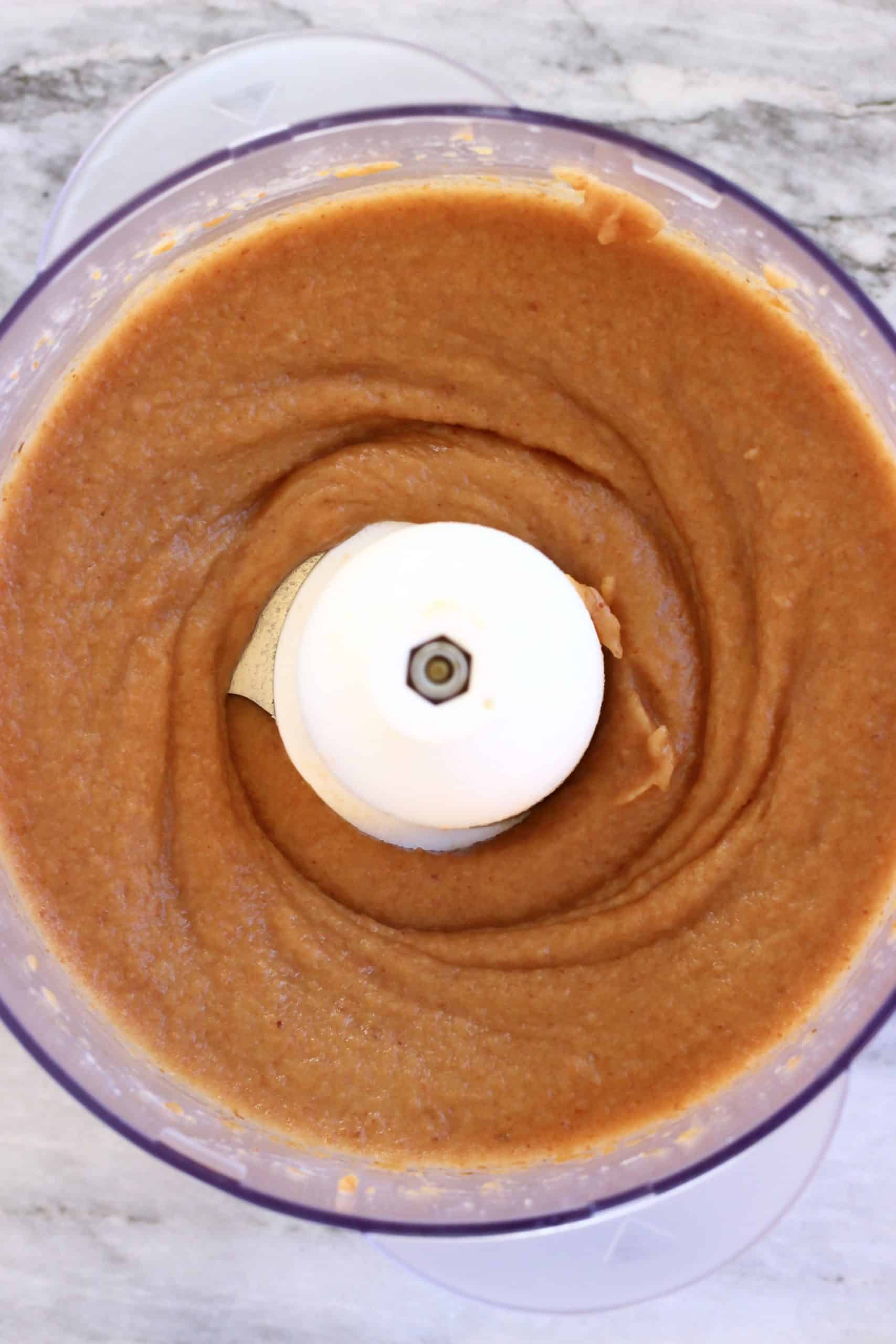 Blended date purée in a food processor