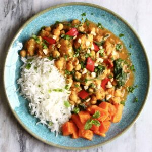 Chickpea Sweet Potato Peanut Curry (Vegan + GF)