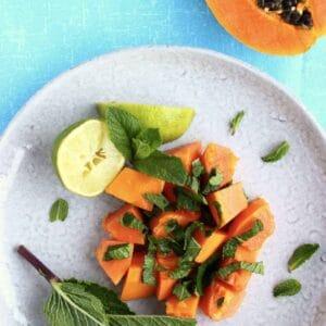 Papaya Mint Lime Salad (Vegan + GF)