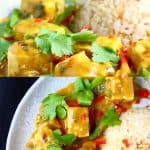 A collage of two Peanut Tofu Satay Curry photos