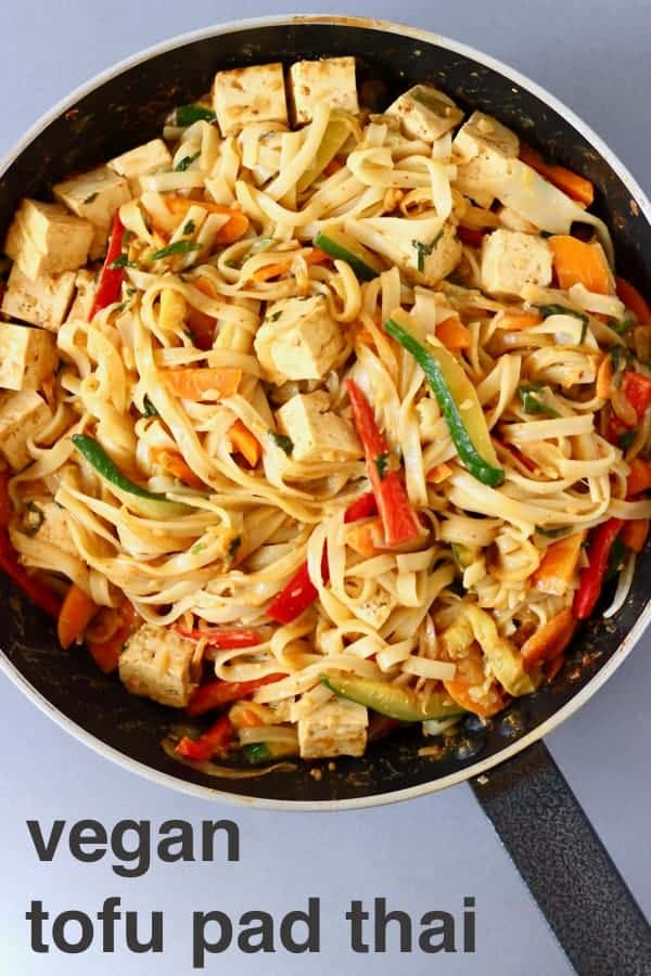 This Vegan Tofu Pad Thai is so easy to make, super versatile and perfect for quick weeknight dinners! Vegetarian, gluten-free, dairy-free and refined sugar free. #vegan #vegetarian #rhiansrecipes #tofu #dairyfree #glutenfree