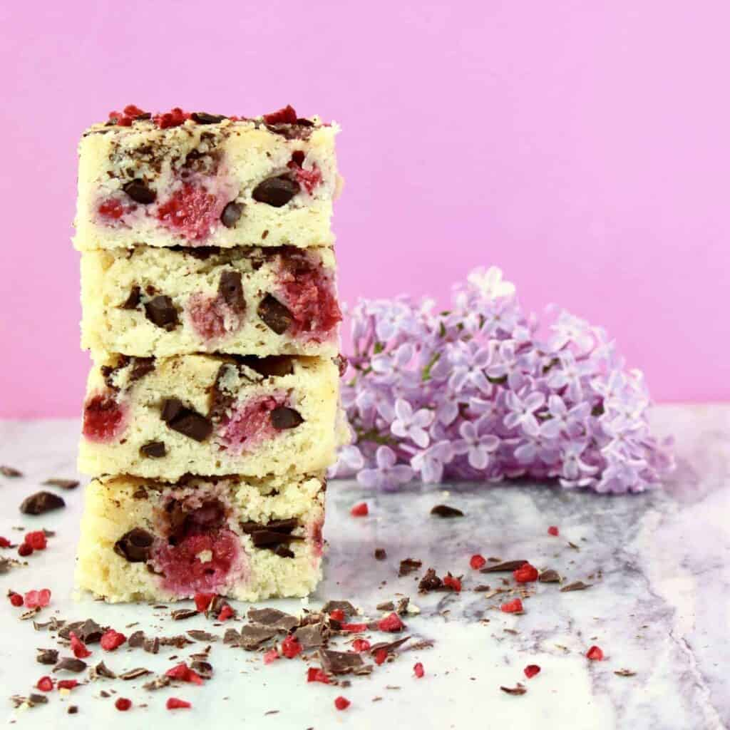 Vegan Raspberry Dark Chocolate Blondies