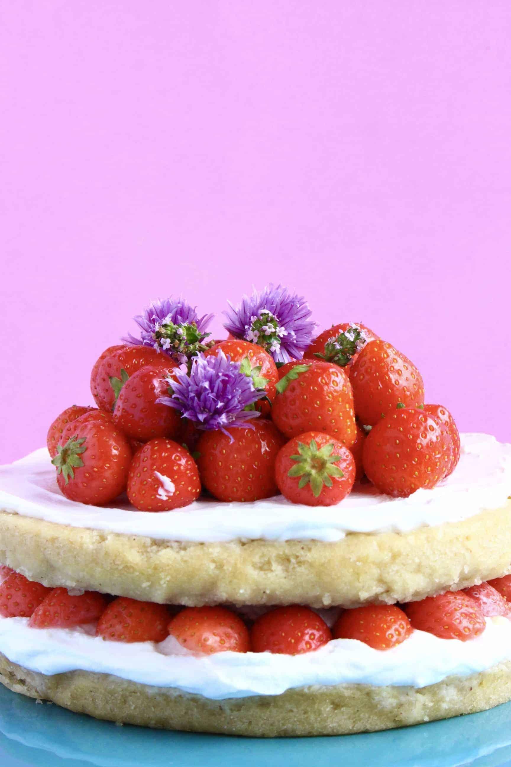 Gluten-Free Vegan Strawberry Sponge Layer Cake