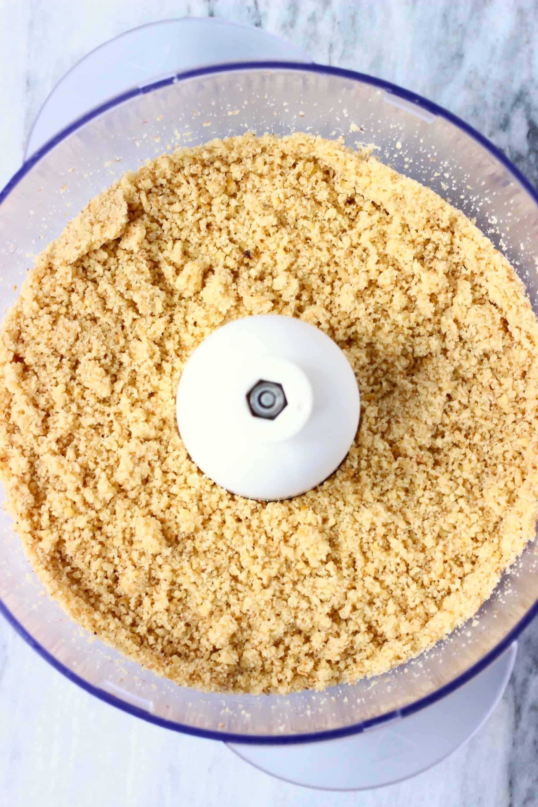 Ground walnuts in a food processor
