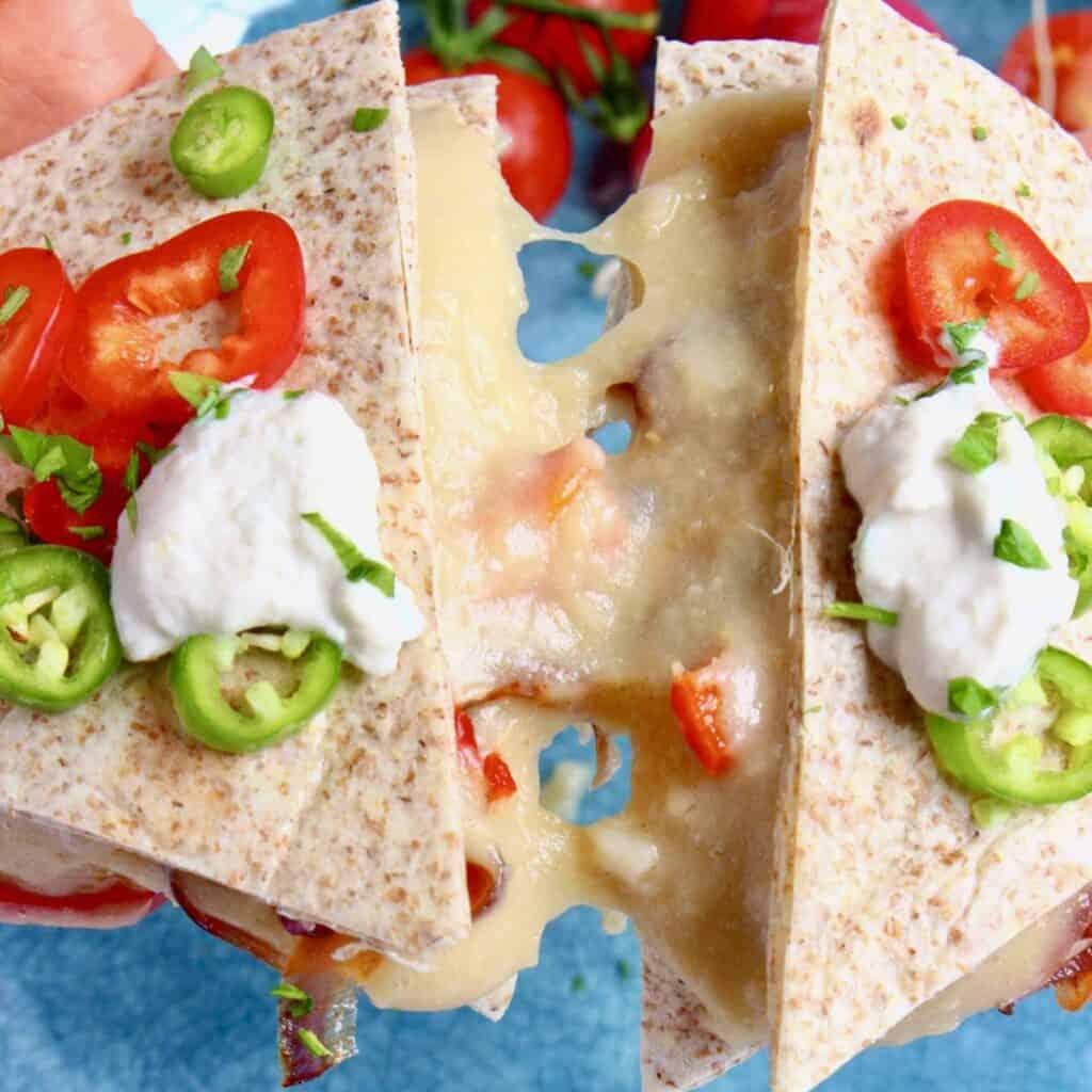 Vegan Stretchy Melty Cheese Quesadillas (GF)