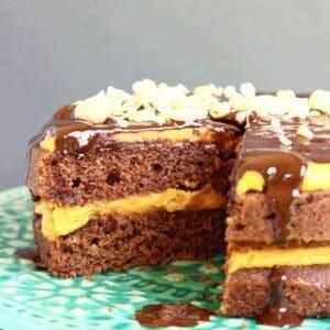 Gluten-Free Vegan Peanut Butter Chocolate Cake