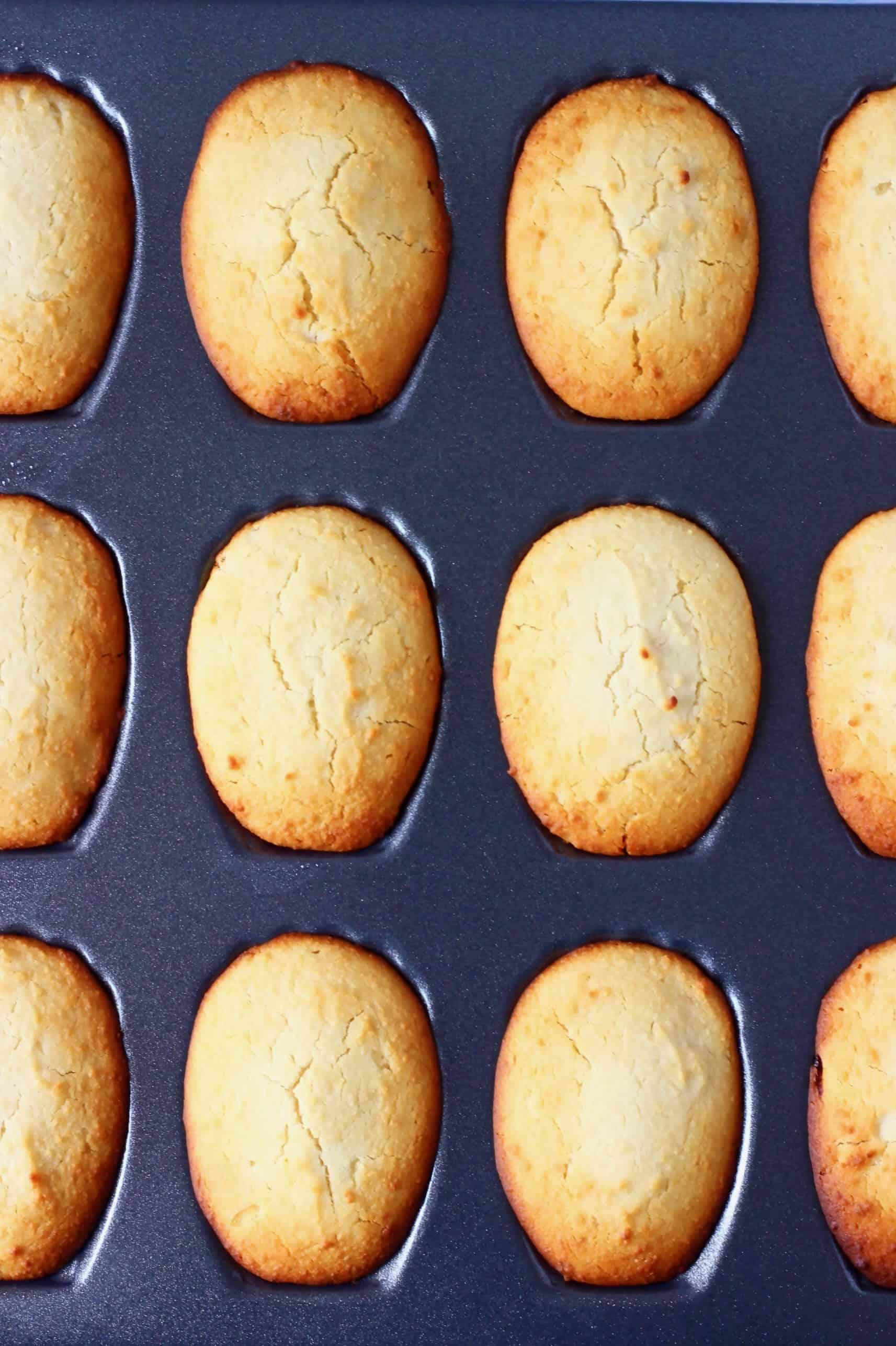 Twelve gluten-free vegan madeleines in a silver madeleine tin