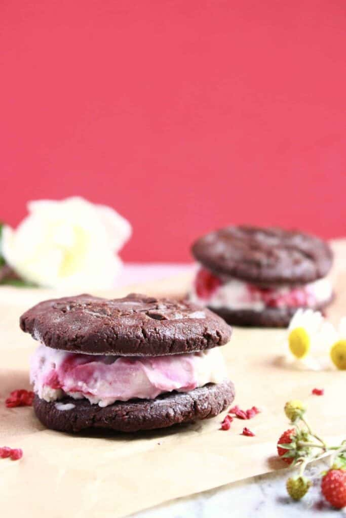Vegan Chocolate Black Bean Cookie Ice Cream Sandwiches (GF)