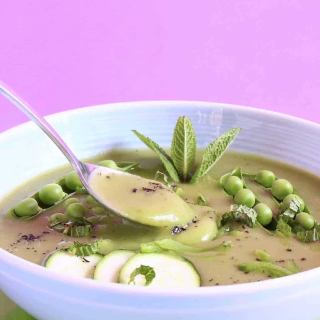 Pea Zucchini Mint Soup (Vegan + GF)