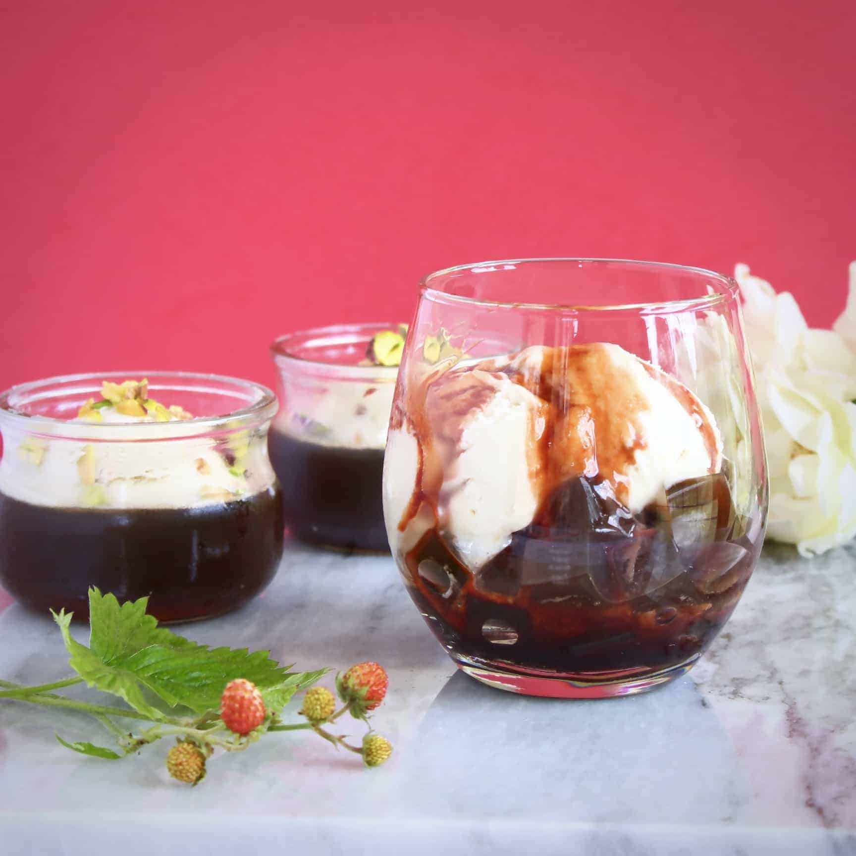 Coffee Jelly Ice Cream Sundae (Vegan + GF)
