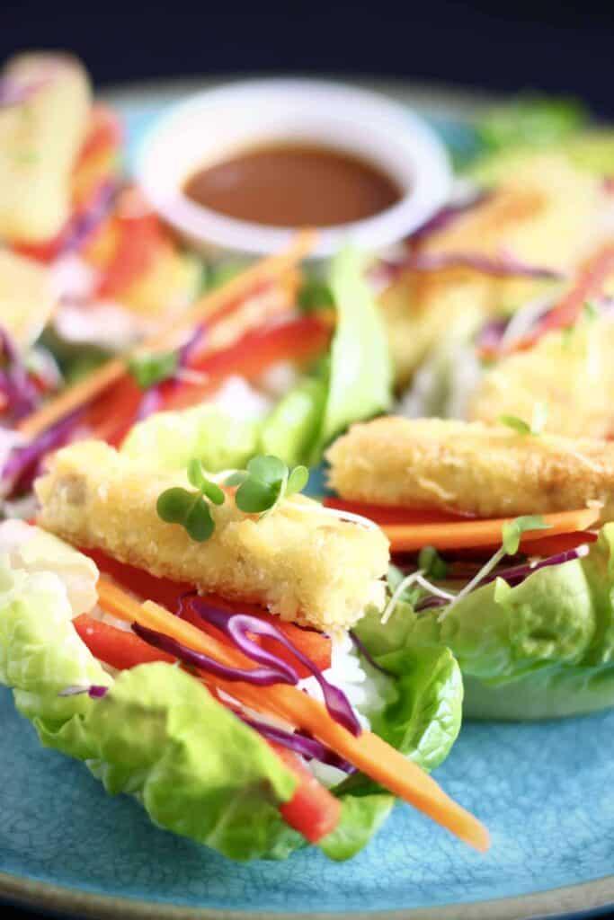 Tofu Katsu Sushi Lettuce Wraps (Vegan + GF)