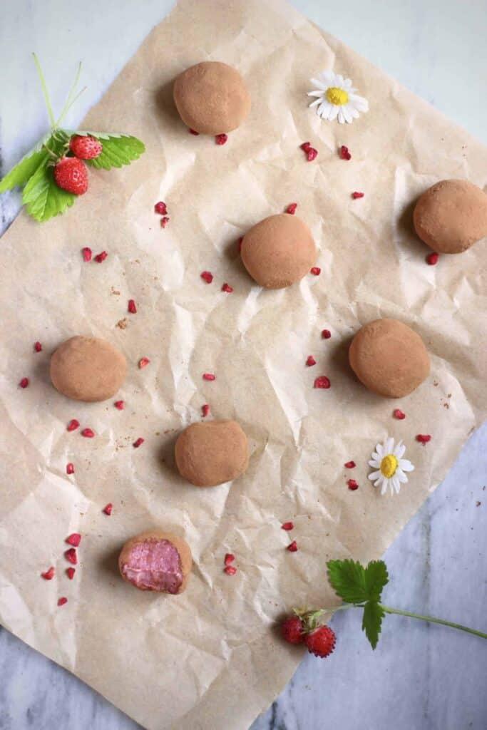 Vegan Strawberry Chocolate Truffles