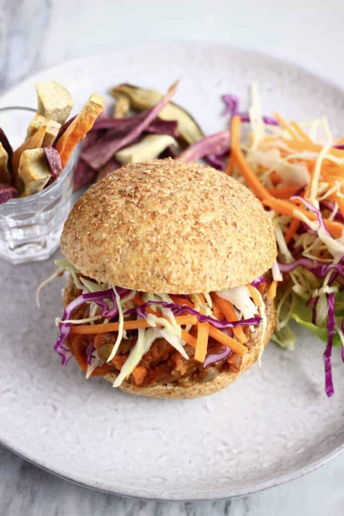 Vegan Eggplant Pulled Pork Burger (GF)