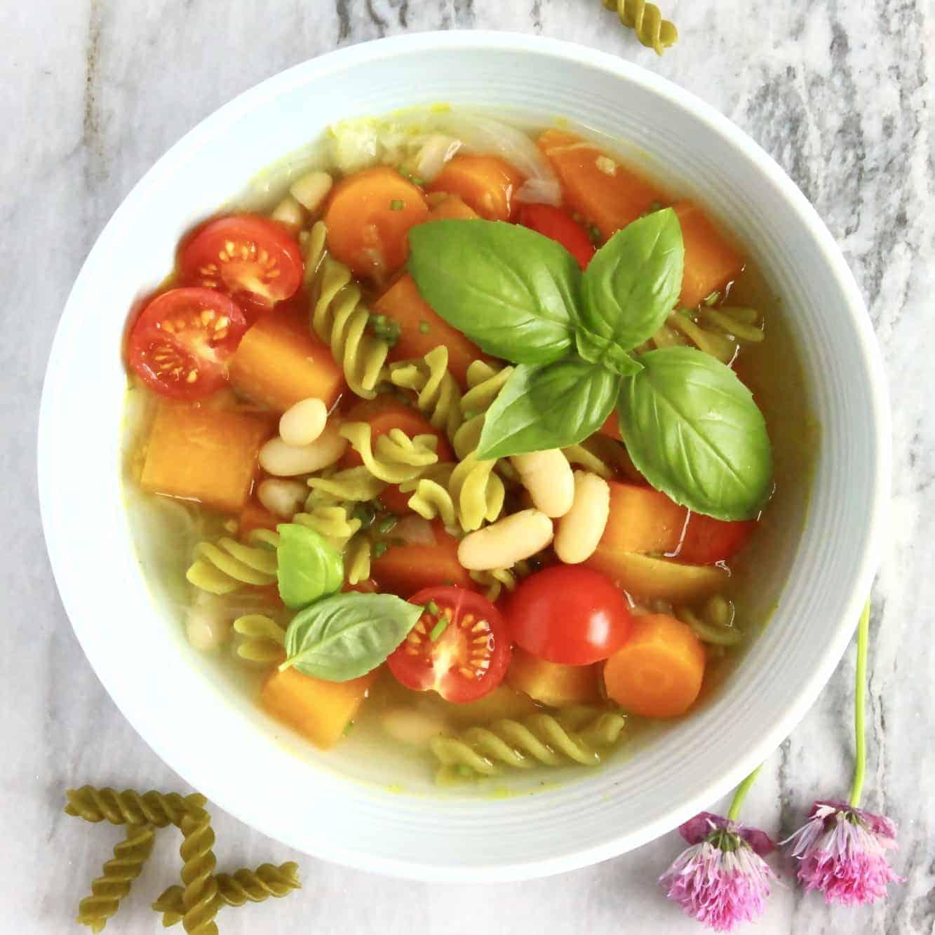 Vegan Pea Pasta Minestrone Soup (GF)