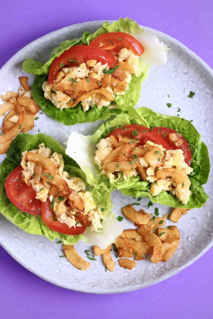 Vegan Chickpea Mayo Coconut Bacon Lettuce Wraps (GF)